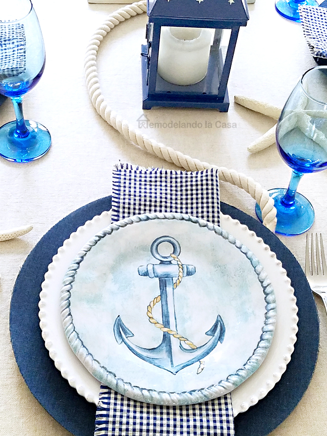 Anchor plate on jean covered charges - tablescape