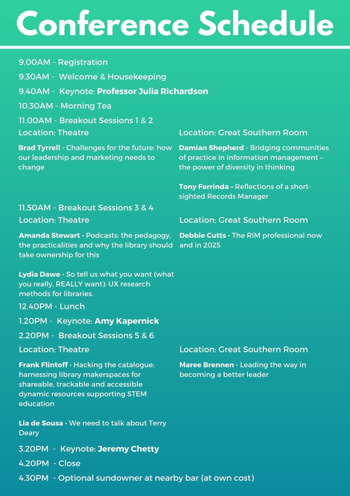 Bodies of Information Conference schedule