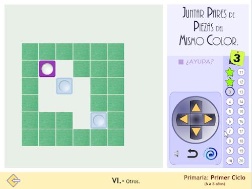 Juego de estrategia. Junrar pares de piezas del mismo color.