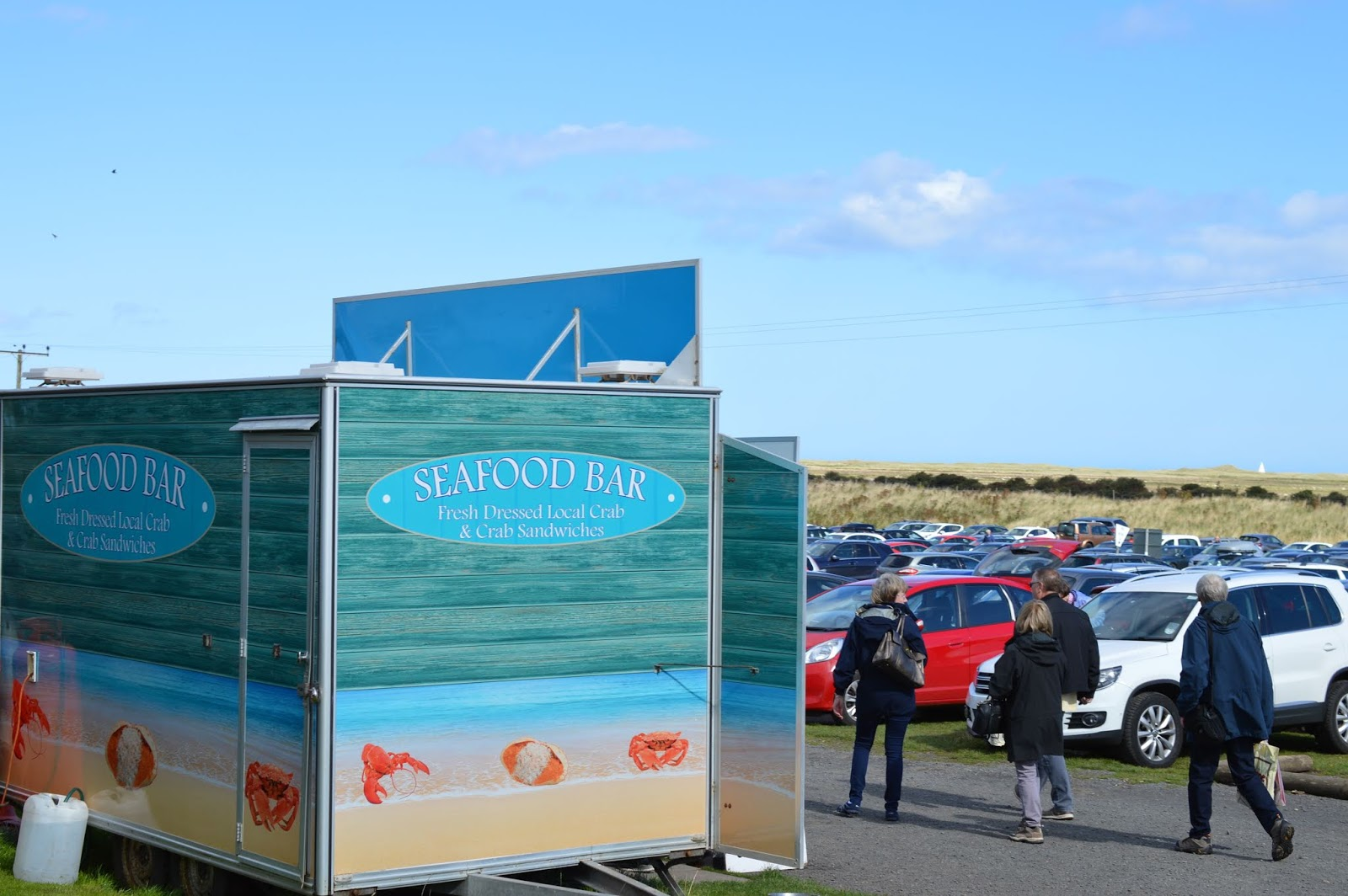 The Holy Island of Lindisfarne, Northumberland - what to see and do during a half day visit - seafood bar holy island car park