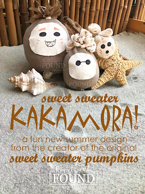 art class, beach style, coastal style, crafting, decorating, diy decorating, junk makeover, just for fun, original designs, re-purposing, sweaters, Sweet Sweater Kakamora, thrifted, tiki style, tropical style, Sweet Sweater Sandbabies, summer home decor, summer diy decor