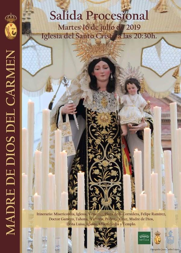 Horario e Itinerario Salida Procesional de la Madre de Dios del Carmen en el Arahal hoy