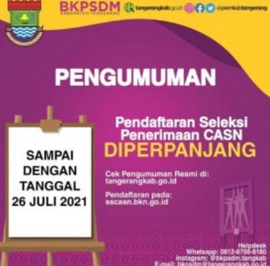 Pendaftaran CASN Tahun 2021 di Perpanjang Sampai Dengan Tanggal 26 Juli 2021.