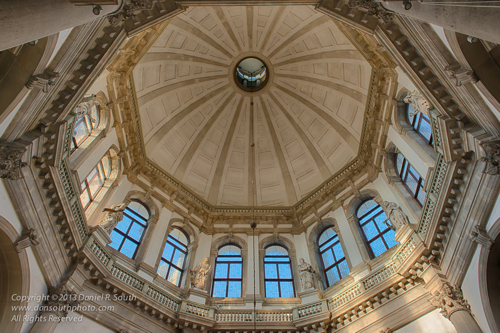 a photo of the dome in the church of santa maria della salute in venice by daniel south