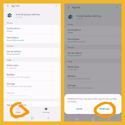 how to disable android system webview