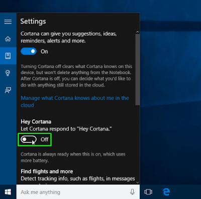 pengaturan Cortana Windows 10
