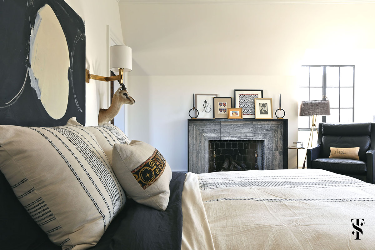 Masculine bedroom with Classic Decor in French Tudor Renovation by Summer Thornton on Hello Lovely