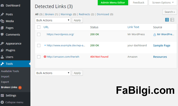 Wordpress 404 Hatası Olan Sayfaları Bulma Eklentisi Broken Link Checker 2020