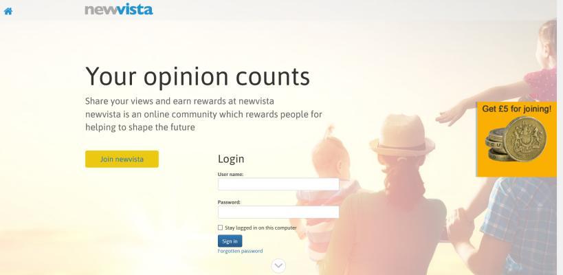 New Vista is an online community that rewards people for filling surveys.