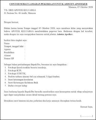 Contoh Surat Lamaran Pekerjaan Untuk Layanan dan Perawatan Pribadi