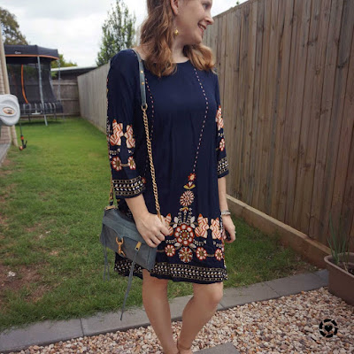 awayfromtheblue Instagram shein navy floral swing dress with blue mini mac bag monochromatic outfit