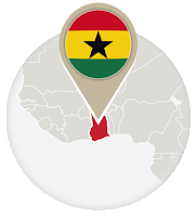 Ghanaian flag and map