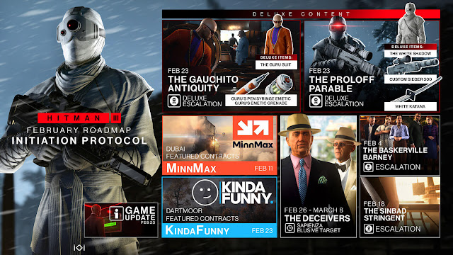 hitman 3 february 2021 roadmap elusive targets reveal reboot saga world of assassination trilogy agent 47 stealth action-adventure game gauchito anquity proloff parable sinbad stringent initiation protocol io interactive pc ps4 ps5 xb1 xsx