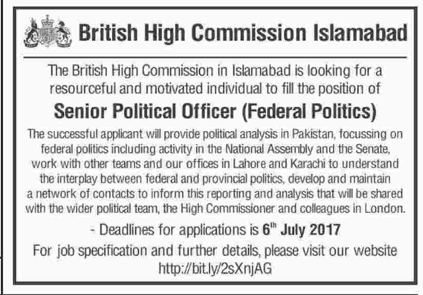 Senior Political Officer Jobs In British High Commission Islamabad June 2017