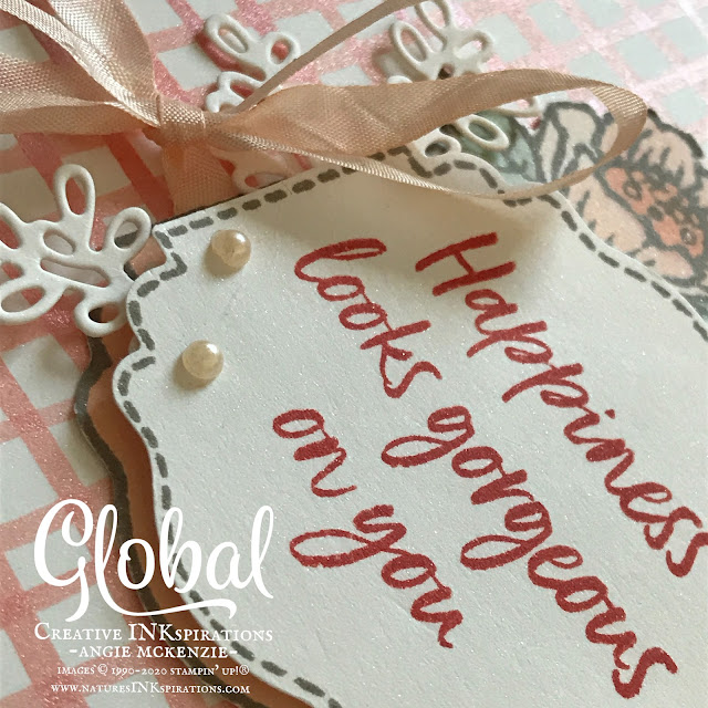 By Angie McKenzie for Global Creative Inkspirations; Click READ or VISIT to go to my blog for details! Featuring a SNEAK PEEK of the Sale-A-Bration 2nd Release Tags in Bloom Stamp Set and the Label Me Lovely Punch; #tagsinbloomstampset #labelmelovelypunch #2ndreleaseSAB #coloringwithblends #stampingtechniques #cardtechniques #stampinup #handmadecards #stampinblends #fussycutting #paintingwithshimmerpaintandreinkers