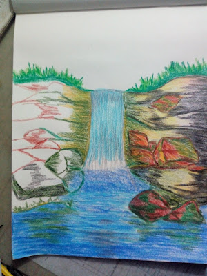 Drawing image of waterfall
