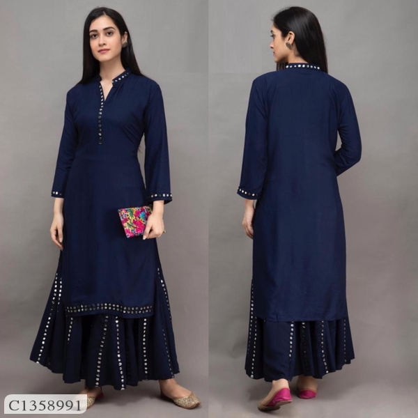 Desi Closet Delicate Mirror Foil Work Rayon Cotton Sharara Set Online Shopping | Womens Top and Sharara Set Online Shopping | Womens Cotton Top Online | Top For Women Online Shopping | Online Shopping |