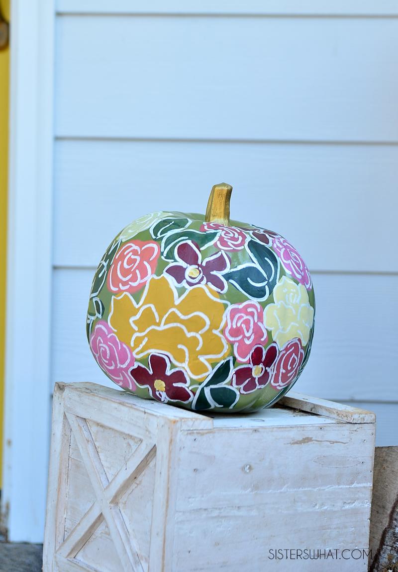 hand painted floral pumpkins