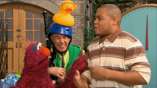 In the sesame street story Hurry Up, You're Running Out of Time, Chris and Telly talk, followed by Denny the Distractor. Sesame Street Preschool is Cool ABCs With Elmo
