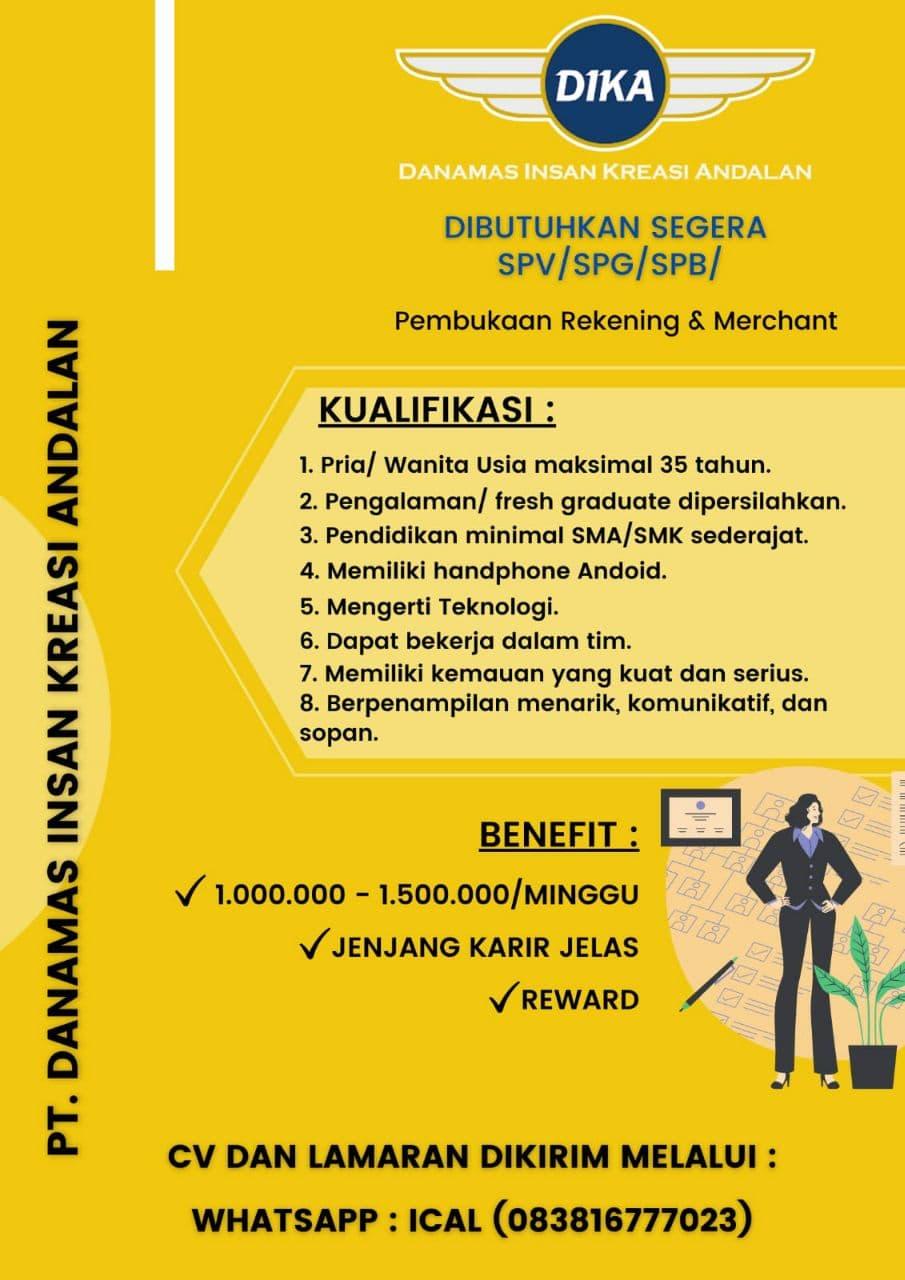 Lowongan Kerja PT. Dika Bandung Agustus 2021