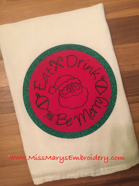 DIY Christmas Tea Towel silhoeutte cameo fabric heat transfer vinyl