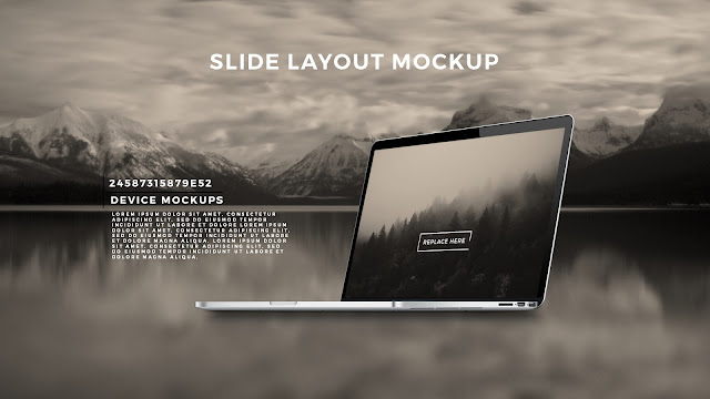 Perspective Macbook Pro Screen Mockup PowerPoint Template with Background