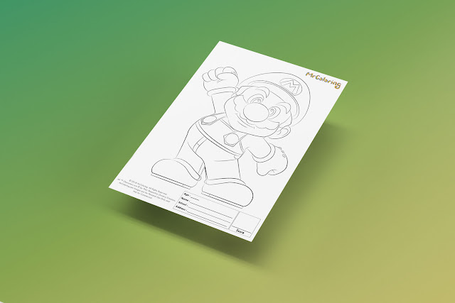 Free Printable Super Mario Coloriage Outline Blank Coloring Page pdf For Kids Kindergarten Preschool Toddler coloring sheets 1