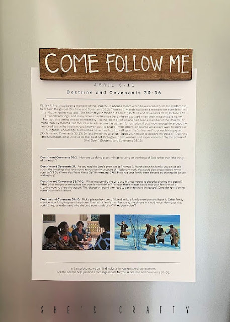 Come Follow Me Printable on fridge with magnets.