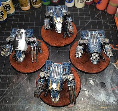 Legio Tempestus Warhound Titans for Adeptus Titanicus WIP - Bases