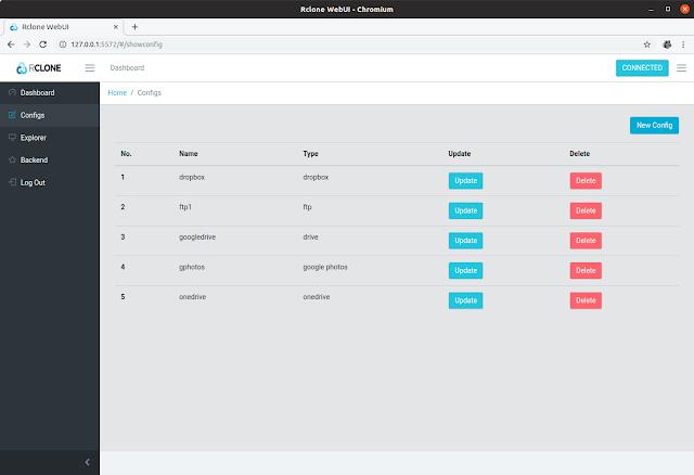 Rclone web UI Configs