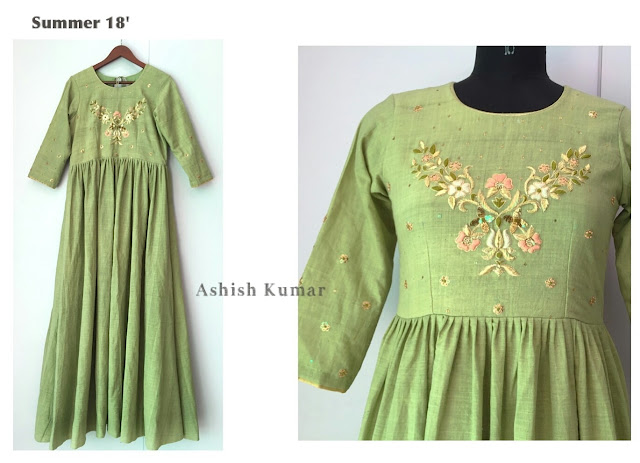 Khadi fashion 2019, Green khadi dress 2019 India.
