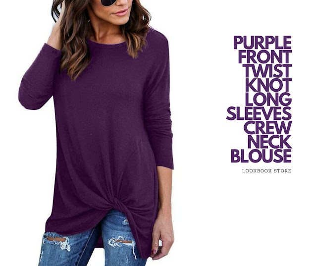 Lookbook Store Purple Front Twist Knot Long Sleeves Crew Neck Blouse