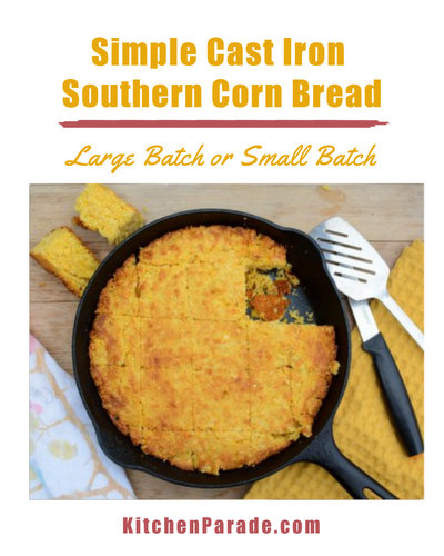 Simple Cast Iron Southern Corn Bread ♥ KitchenParade.com, my favorite simple southern-style savory cornbread. Plus six tips for perfect cornbread every time.