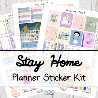 3 Years Apart Stay Home Free Printable Planner Sticker Kit