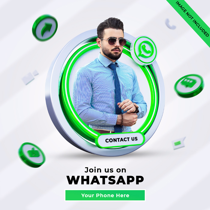 Whatsapp Social Media Square Banner With 3D Logo Link Profile Box
