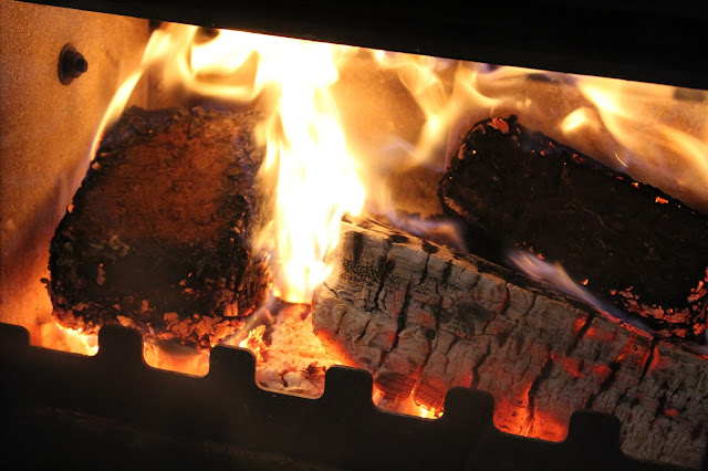 bark heat logs in wood burner