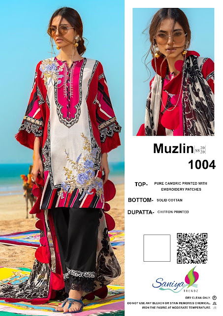 Saniya Trendz Muzlin Pakistani Suits catalog wholesaler