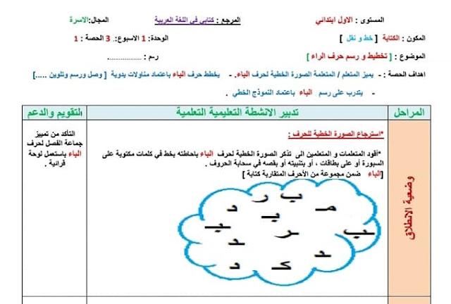 جذاذات الكتابة للمستوى الاول الأسبوع الرابع من الوحدة الاولى حرف الباء كتابي في اللغة العربية