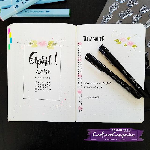 Kartenwerke: Monatsübersicht im Bullet Journal, gestaltet mit Artliner Pens und Aqua Watercolour Marker