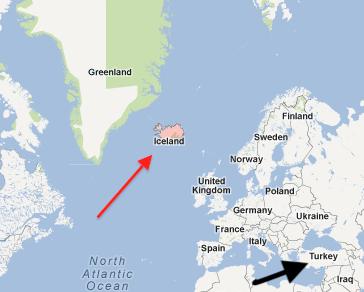 İzlanda harita