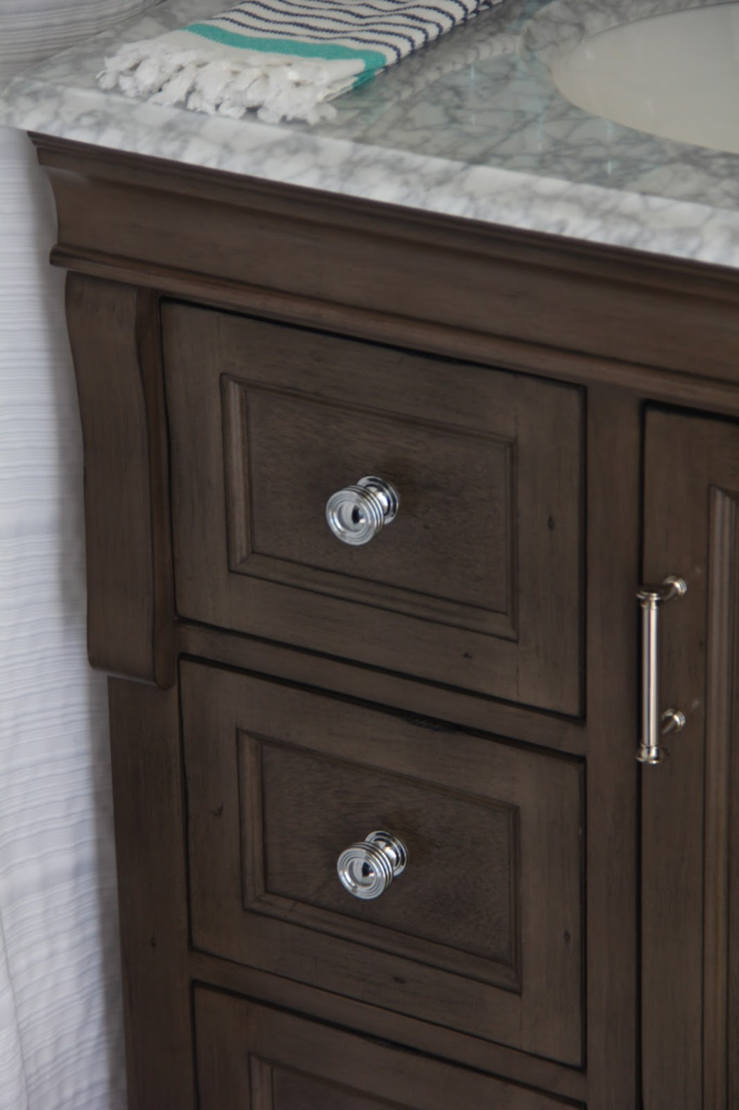 Great I should mention the hardware that came with this vanity was oil rubbed bronze and birdcage style I had the chrome knobs in my stash and I ran out to Lowes