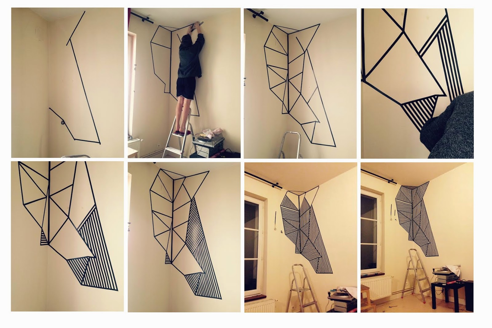 rouquine lunettes le mur en masking tape. Black Bedroom Furniture Sets. Home Design Ideas