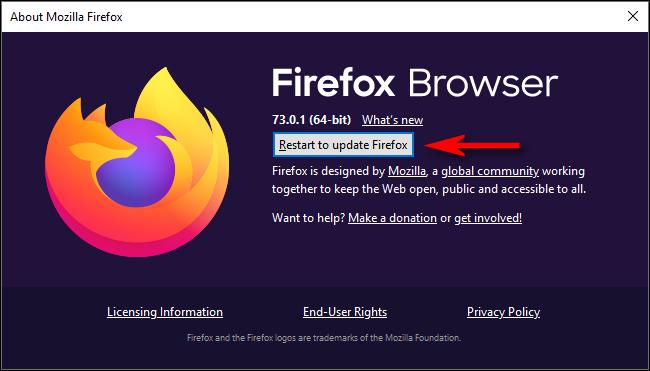 """انقر فوق """"إعادة التشغيل لتحديث فايرفوكس""""."""