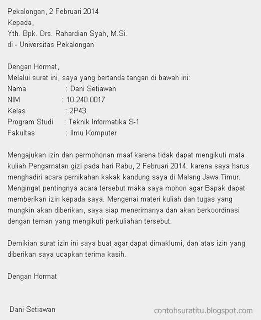 Contoh Surat Izin Tidak Masuk Kuliah (via: manjakan.com)