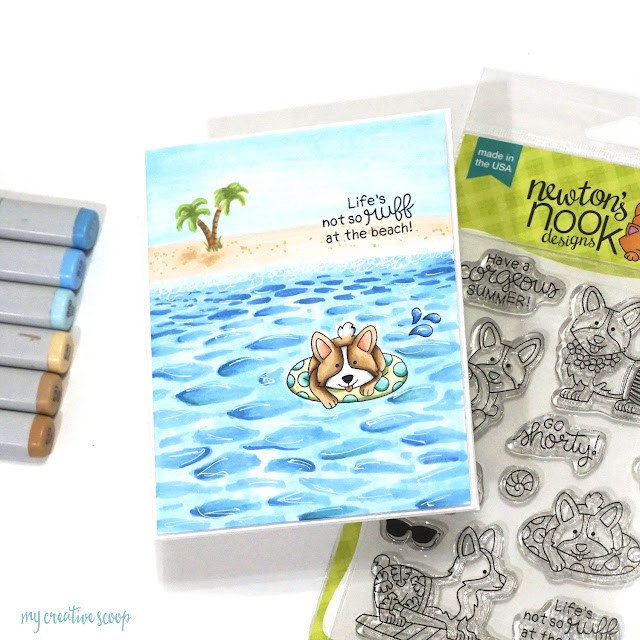 Life's Not So Ruff at the Beach Card by August Guest Designer Mindy Baxter | Corgi Beach Stamp Set by Newton's Nook Designs #newtonsnook #handmade