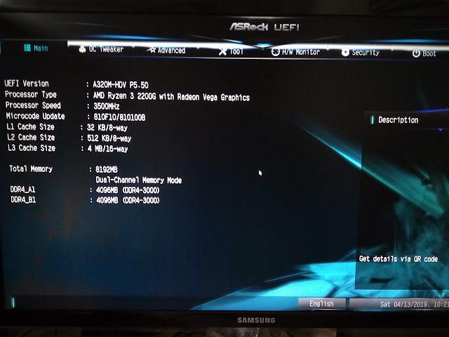 tampilan BIOS ASRock A320M HDV