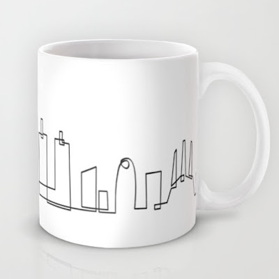 Il·lustració de l'skyline de Barcelona per Society6