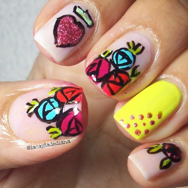 flores-rosas-corazones-nailart