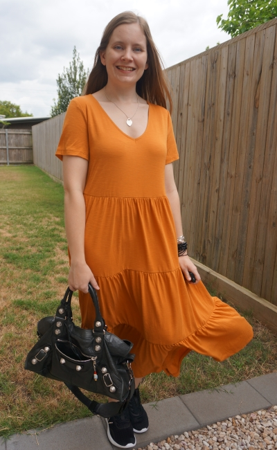 Kmart short sleeve tiered jersey midi dress in amber with black accessories balenciaga bag new balance running shoes | awayfromblue