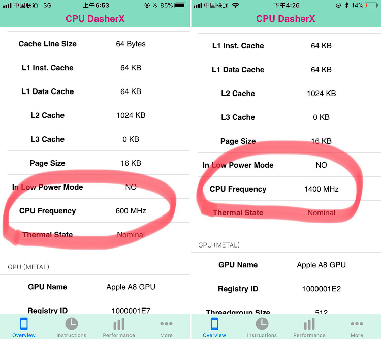 Процессор iPhone 6 до и после замены батареи